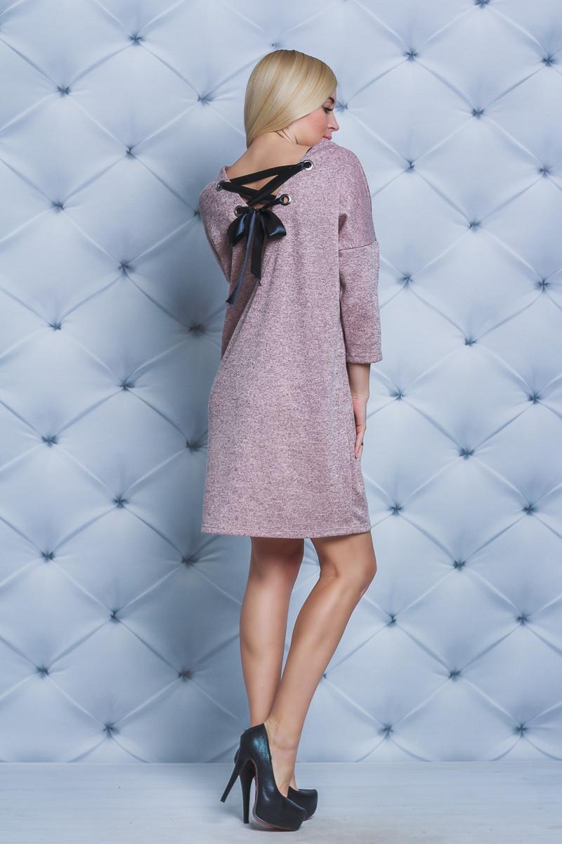 Платье женское со шнуровкой персик
