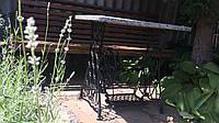 Кофейный столик чугунный со столешницей из натурального камня, фото 1