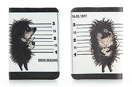 Кожаная обложка на паспорт Ежик