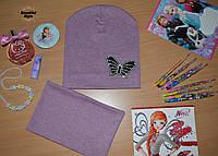 Весенний комплект для девочек Бабочка розовый меланж, фото 1
