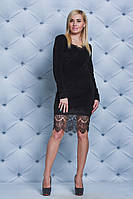 Платье велюровое с гипюром черное, фото 1