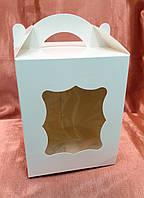 Коробка для пасхи-кексов 170*170*210 белая мелованная, фото 1