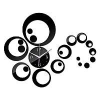 3-D часы настенные кольца черные