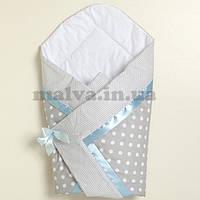 """Летний конверт на выписку """"Горошки"""" с голубой лентой, фото 1"""