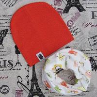 Демисезонный наборы: детские шапки и хомуты влаговпитывающие