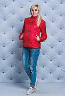 Куртка женская стеганная весна/осень красная, фото 1