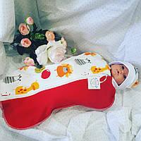 """Пеленка кокон """"Ежики"""" + шапочка для новорожденных"""