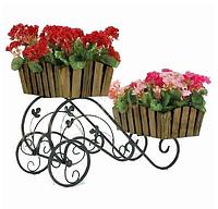 Кованая подставка для цветов Кантри тачка