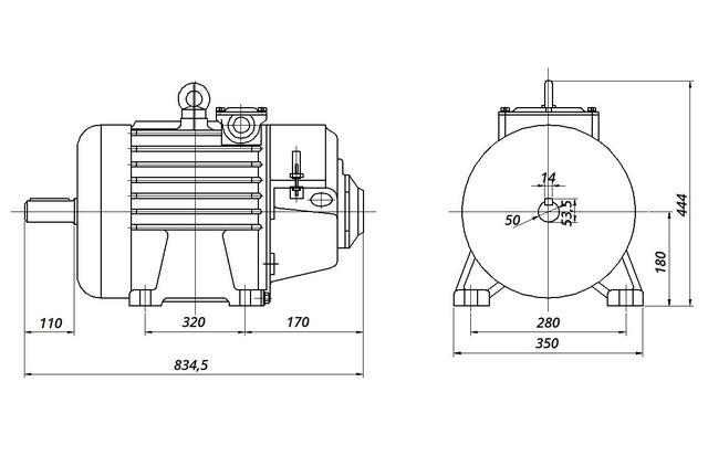 МТН 312-6 - IM1001 на лапах (габаритные и установочные размеры)