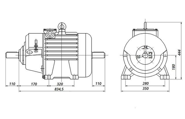МТН 312-6 - IM1002 комбинированный (габаритные и установочные размеры)