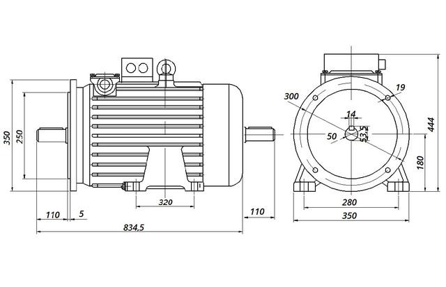 МТН 312-6 - IM2002 фланец на лапах (габаритные и установочные размеры)