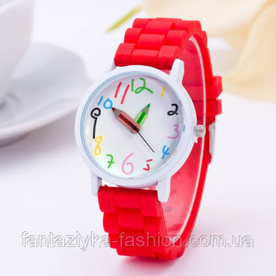 Наручные часы со стрелками карандашами на силиконовом красном ремешке