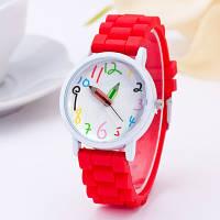 Наручные часы со стрелками карандашами на силиконовом красном ремешке a5e367b14e8d9