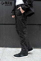 SOFT SHELL Мужские спортивные брюки софтшелл на флисе влагоустойчевые MAW man&wolf