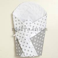 """Конверт-одеяло для новорожденного """"Звезды"""" серый, фото 1"""