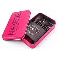 Набор кистей NAKED2 в контейнере 12 шт (розовые)
