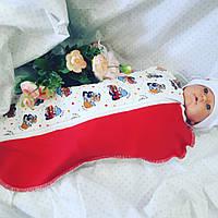 """Пеленка-кокон """"Грузовички"""" + шапочка для новорожденных"""