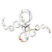 3-D часы настенные кольца серебренные зеркальные