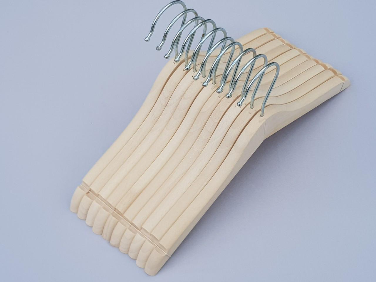 Длина 31,5 см. Плечики детские деревянные ECO светлые, 10 штук в упаковке