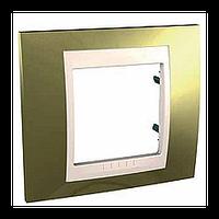 Рамка Schneider-Electric Unica Top 1-пост Золото / Слоновая Кость MGU66.002.504