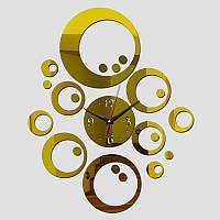 3-D часы настенные кольца золотые зеркальные