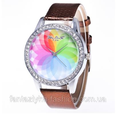 Женские кварцевые модные часы с лазерной 3d печатью и коричневым ремешком