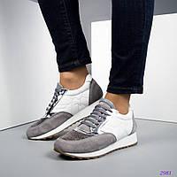 28969a647 Женские кроссовки цвет-белый/ серый.Натуральная итальянская кожа/замша