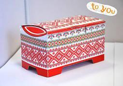 """Картонная коробка для пирожных Сундучок """"Орнамент"""" 150-300г"""