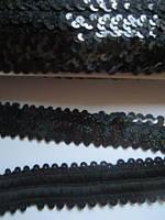 Резинка з паєтками чорна з голографічним ефектом, ширина 3 см, фото 1