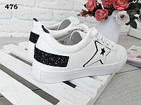 Белые кроссовки женские, звезда, иск.кожа