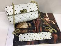 Тренд!!!Шикарная сумочка Valentino Lux из натуральной кожи в белом цвете 1821, фото 1
