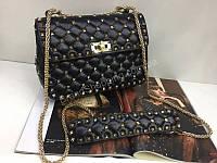 Тренд!!!Шикарная сумочка Valentino Lux из натуральной кожи в черном цвете 1820, фото 1