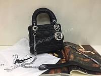 Шикарная сумочка из натуральной кожи Lady Dior mini в черном цвете 1827, фото 1