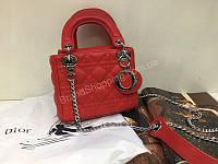 Шикарная сумочка из натуральной кожи Lady Dior mini в красном цвете 1828, фото 1