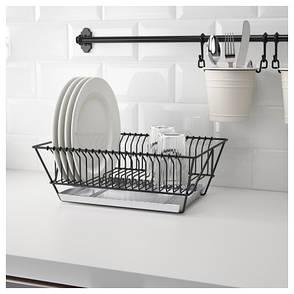 ФИНТОРП Сушилка посудная, черный, оцинковка, 37.5x29x13.5 см 80213173 IKEA, ИКЕА, FINTORP, фото 2