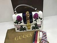 ХИТ! Сумочка от мирового бренда Gucci из натуральной кожи с вышивкой в белом цвете 1845, фото 1