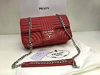 Сумочка Prada Lux из натуральной телячьей кожи в полном комплекте в красном цвете 1849, фото 1