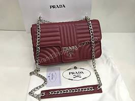 Топ продаж Сумочка Prada Lux из натуральной телячьей кожи в полном  комплекте в цвете марсала 1850 42c51f14543