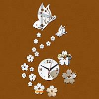 3-D часы настенные бабочки серебряные зеркальные