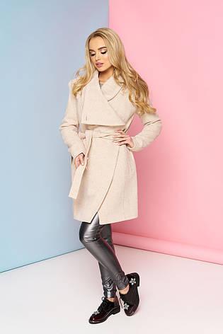Стильное женское шерстяное пальто бежевое П-12, фото 2
