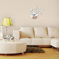 3-D часы настенные фея со звездочками, бабочками серебряные зеркальные
