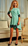 Нарядное мятное платье весна-лето с черным кружевом, фото 1