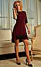 Асимметричное женское платье со шлейфом бордовое