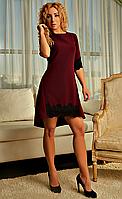 Асимметричное женское платье со шлейфом бордовое, фото 1