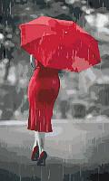 """Картины по номерам / обложка. Люди """"Красная зонтик"""" 30 * 50см"""