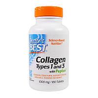 Коллаген Collagen Types 1&3 with Peptan 1000 mg (180 таб) доктор бест с пептаном
