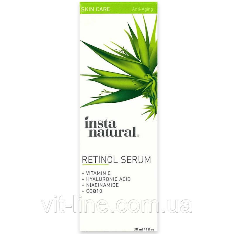 InstaNatural, Retinol Serum, With Vitamin C + Hyaluronic ACid, сыворотка с ретинолом (30 ml)