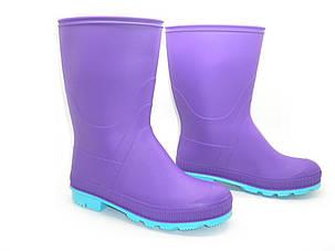 Подростковые резиновые сапоги Юниор (36-40) фиолетовый с бирюзовой подошвой, фото 2