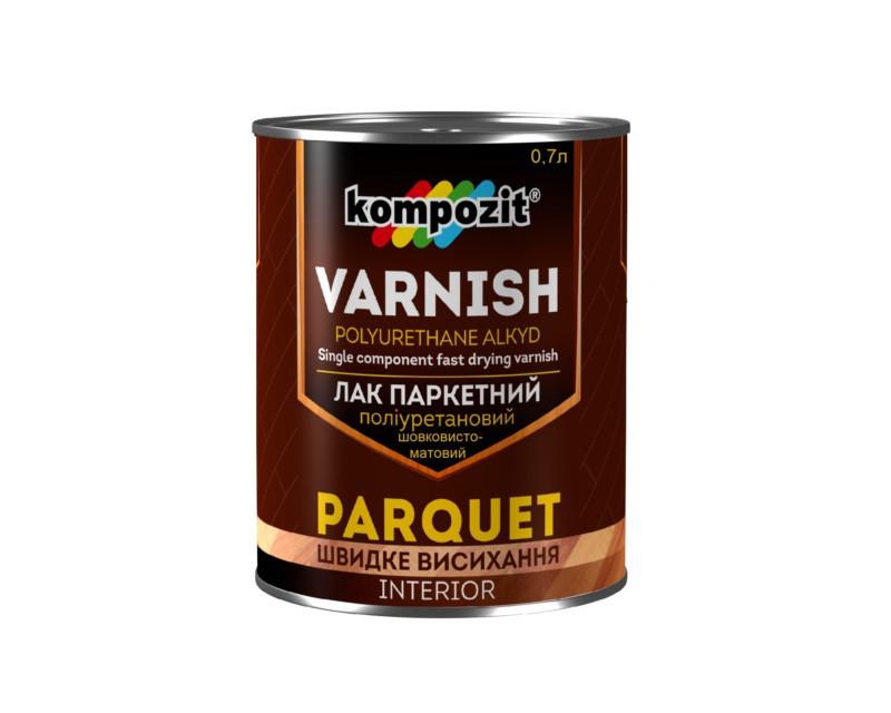 Лак поліуретановий KOMPOZIT PARQUETT VARNISH паркетний напівматовий 0,7 л