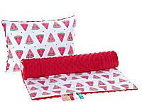 Комплект в детскую коляску BabySoon Арбузики одеяло 75х78 см подушка 30х40 см красный
